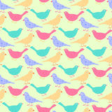 Seamless pattern of different colored wild birds. Stock Image
