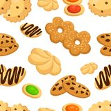Seamless pattern with different cookies in cartoon style vector illustration on white background web site page and mobile app desi. Gn stock photography