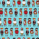 Seamless pattern with different curte bearded pirates Royalty Free Stock Photos