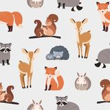 Seamless pattern with different cute cartoon forest animals on white background - squirrel, hedgehog, fox, deer, rabbit stock illustration