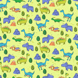 Seamless pattern with different cute dinosaurs, mountauns  Royalty Free Stock Images
