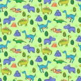 Seamless pattern with different cute dinosaurs, mountauns  Stock Images