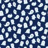 Seamless pattern with different cute ghosts. Royalty Free Stock Image