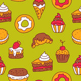 Seamless pattern of different delicious desserts Stock Photo