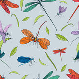 Seamless pattern with different dragonfly. Hand drawn background with flying adder. Vector illustration Stock Photo