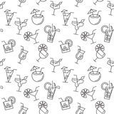 Seamless pattern with different drinks icons Stock Photography