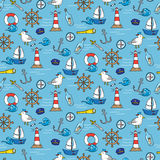Seamless pattern with different elements for sea travelling Stock Image