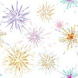 Seamless pattern different fireworks explosions. Vector holiday firework. For celebration, winner, victory poster stock illustration