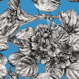 Seamless pattern with different flowers, birds and plants drawn. Graphic drawing, pointillism technique. Can be used for pattern fills, wallpapers, web page vector illustration