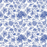 Seamless pattern with different flowers, birds and plants drawn Royalty Free Stock Images