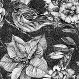 Seamless pattern with different flowers, birds and plants. Graphic drawing, pointillism technique. Can be used for pattern fills, wallpapers, web page, surface royalty free illustration