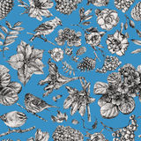 Seamless pattern with different flowers, birds and plants Stock Images