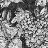Seamless pattern with different flowers, birds and plants. Graphic drawing, pointillism technique. Can be used for pattern fills, wallpapers, web page, surface vector illustration