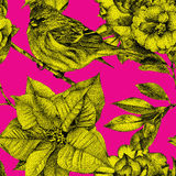 Seamless pattern with different flowers, birds and plants Royalty Free Stock Photos