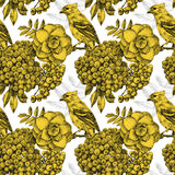 Seamless pattern with different flowers, birds and plants Royalty Free Stock Images