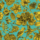 Seamless pattern with different flowers, birds and plants Stock Image