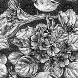Seamless pattern with different flowers, birds and plants. Graphic drawing, pointillism technique. Can be used for pattern fills, wallpapers, web page, surface stock illustration