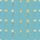 Seamless pattern of  different flowers on a blue. Seamless pattern of different flowers on a blue background, vector illustration royalty free illustration