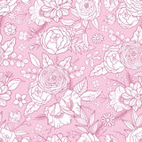 Seamless pattern with different flowers. Royalty Free Stock Image