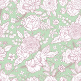 Seamless pattern with different flowers. Royalty Free Stock Photo