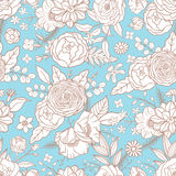Seamless pattern with different flowers. Royalty Free Stock Images