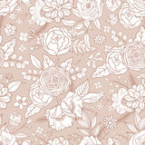 Seamless pattern with different flowers. Stock Photo