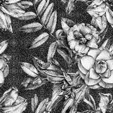 Seamless pattern with different flowers and plants drawn by hand. Graphic drawing, pointillism technique. Can be used for pattern fills, wallpapers, web page vector illustration