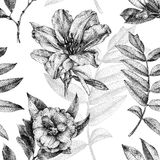 Seamless pattern with different flowers and plants drawn by hand. Graphic drawing, pointillism technique. Can be used for pattern fills, wallpapers, web page royalty free illustration