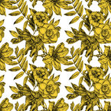 Seamless pattern with different flowers and plants drawn by hand Stock Photo