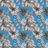 Seamless pattern with different flowers and plants drawn by hand Stock Image