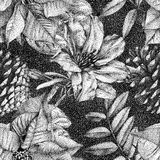 Seamless pattern with different flowers and plants drawn by hand. Graphic drawing, pointillism technique. Can be used for pattern fills, wallpapers, web page stock illustration