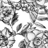 Seamless pattern with different flowers and plants drawn by hand Stock Photos