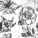 Seamless pattern with different flowers and plants drawn by hand. Graphic drawing, pointillism technique. Drawing by hand with black ink vector illustration