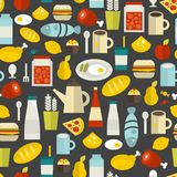 Seamless pattern with different food and drinks. Royalty Free Stock Images