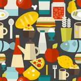Seamless pattern with different food and drinks. Stock Images