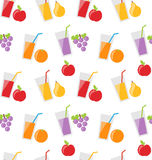 Seamless Pattern with Different Fresh Fruit Juices Royalty Free Stock Image