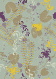 Seamless Pattern with Frogs and Lily Pads Stock Photo