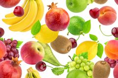 Seamless pattern of different fruits and berries. Falling tropical fruits isolated on white background. Healthy food royalty free stock photos