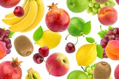 Seamless pattern of different fruits and berries. Falling tropical fruits isolated on white background. Healthy food royalty free stock image