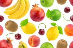 Seamless pattern of different fruits and berries. Falling tropical fruits isolated on white background. Healthy food stock photography