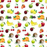 Seamless pattern  of different fruits with leaves and flowers Royalty Free Stock Photography