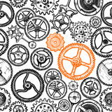 Seamless pattern with different gears Stock Photos