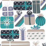 Seamless pattern with different gift boxes. Cute design. Colorful creative presents.  Stock Photos