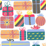 Seamless pattern with different gift boxes. Cute design. Colorful creative presents. Stock Images