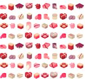 Seamless pattern with different gift boxes Royalty Free Stock Photo