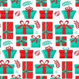 Seamless pattern different gift boxes in vector. Gift in flat style. Collection for Christmas, birthday and holidays. Christmas