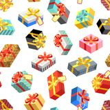 Seamless pattern with different giftboxes colored on white background. Flat-style vector illustration. Gift seamless pattern background, holiday birthday Royalty Free Stock Images