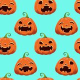 Seamless pattern with different Halloween pumpkins on blue background. Vector illustration. For scrapbooking, gifts stock photo