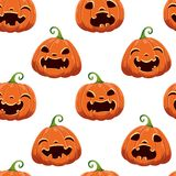 Seamless pattern with different Halloween pumpkins on white background. Vector illustration. For scrapbooking, gifts stock photography