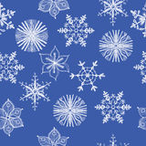 Seamless pattern of different hand drawn. Snowflakes. Vector illustration Stock Photos